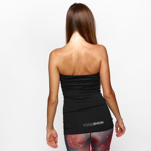Top bustier fitness da donna con reggiseno invisibile nero yogashion