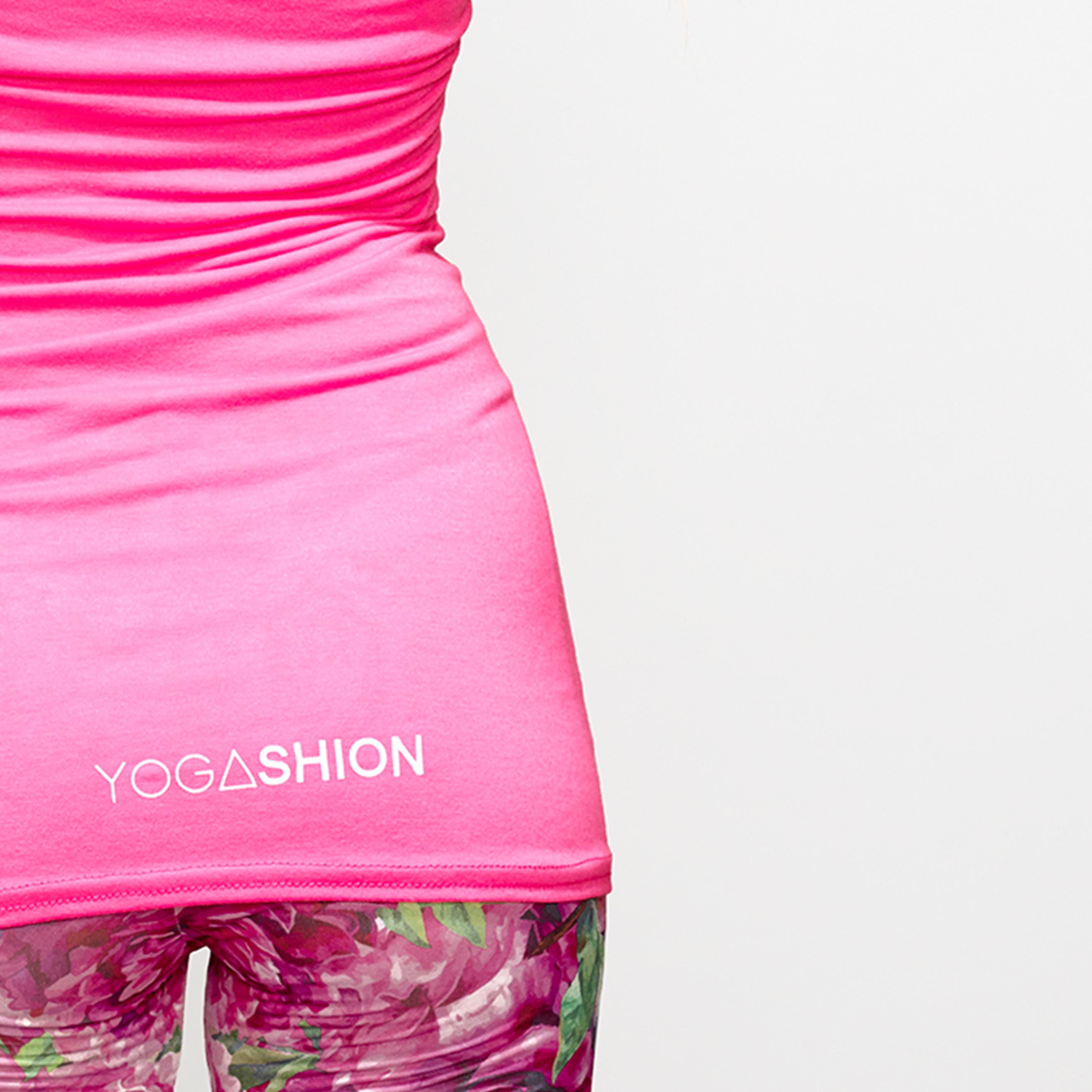 Top bustier fitness da donna con reggiseno invisibile rosa yogashion