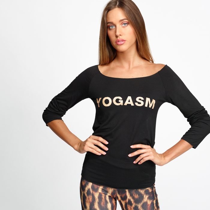 t-shirt fitness manica lunga in cotone yogashion